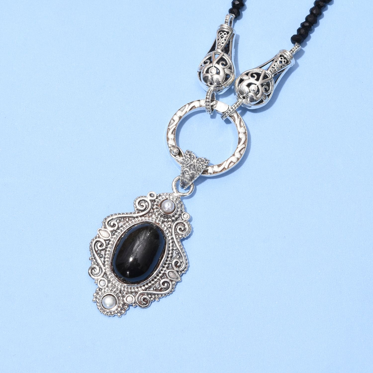 indian black star diopside thai black spinel white pearl sterling silver pendant with necklace. Black Bedroom Furniture Sets. Home Design Ideas