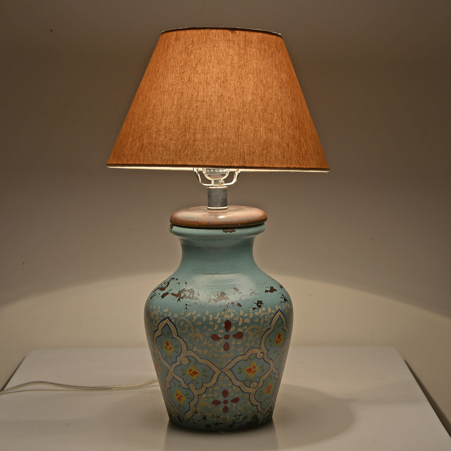 ... Hand Painted Electrical Turquoise Floral Terracotta Clay Flower Pot Table  Lamp (Require G16.5 ...