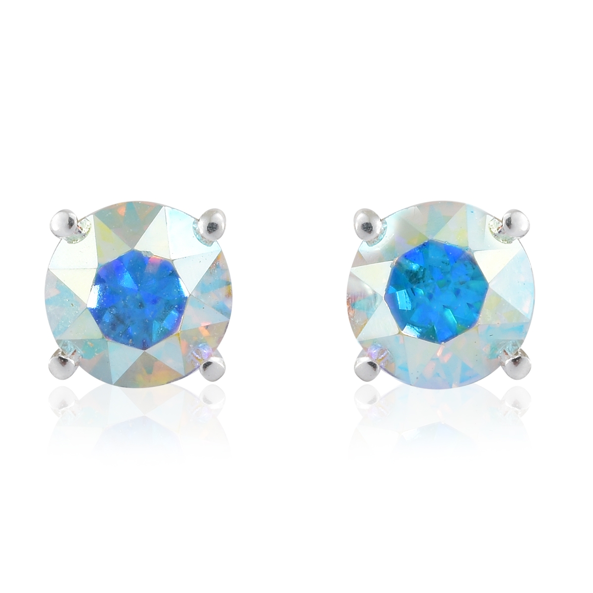 Set Of 2 Sterling Silver Stud Earrings Made With Swarovski White And Aurora Borealis Crystal