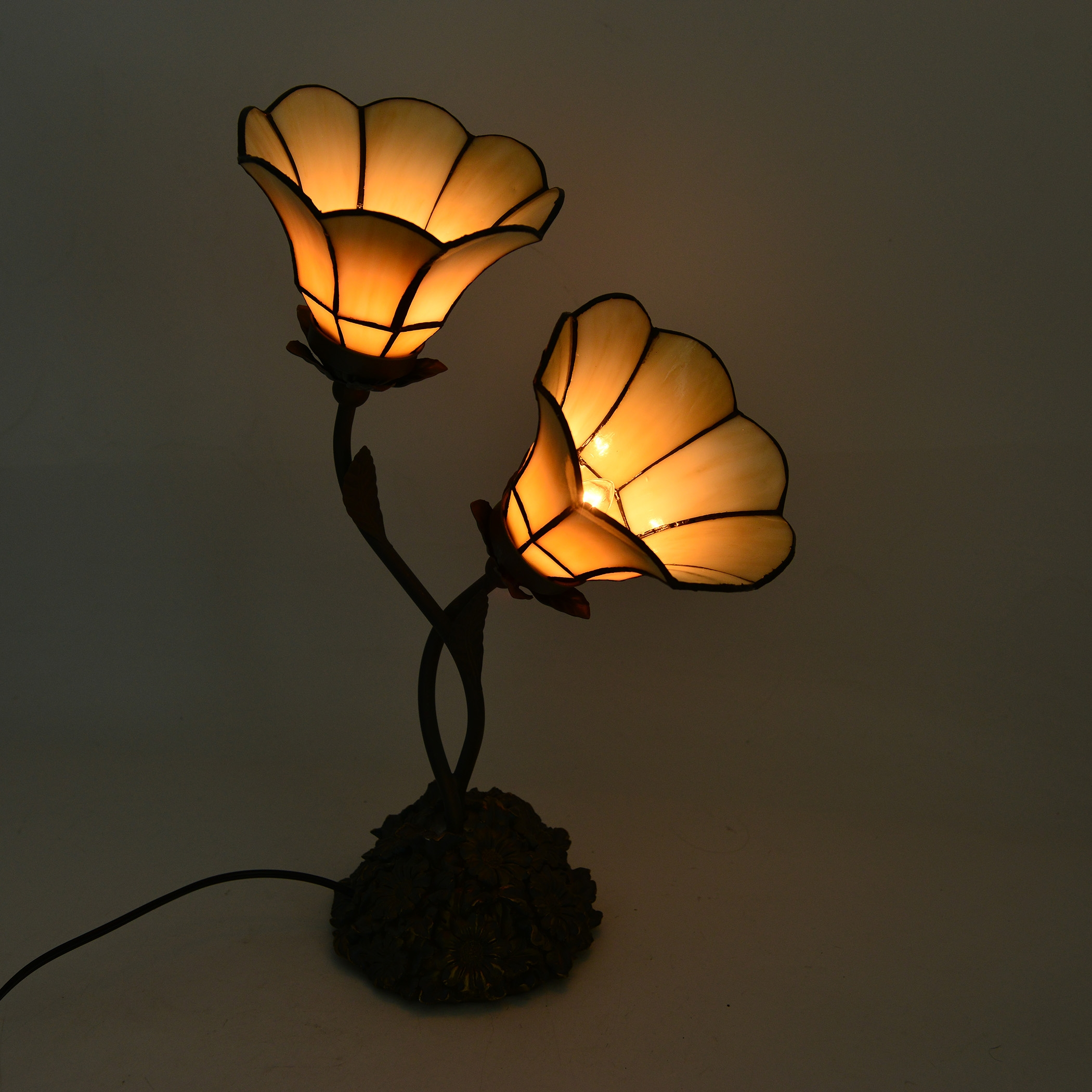 White Floral Engraved Tiffany Style Dual Table Lamp 14 In