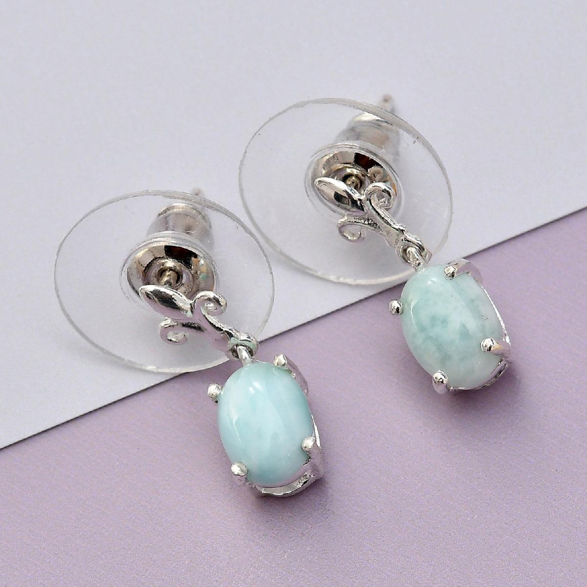 8264d7af4 Sea Mist Larimar Sterling Silver Fleur De Lis Earrings TGW 1.92 cts ...