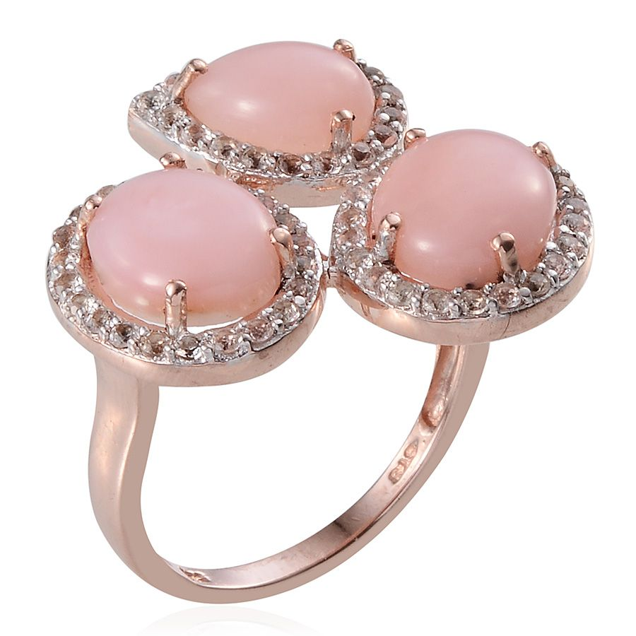 Mexican Pink Opal, White Topaz 14K RG Over Sterling Silver Ring ...