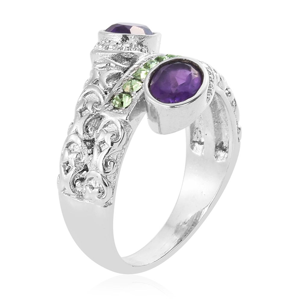 Amethyst stainless steel bypass ring size 6 0 made with for Swarovski jewelry online store