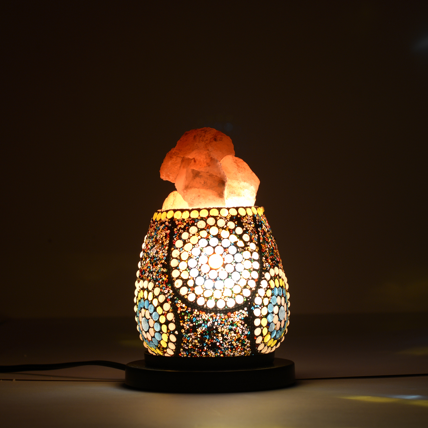 One Day TLV Handcrafted Multi Color Floral Design Mosaic Electric Lamp with Himalayan Salt (4.5 ...