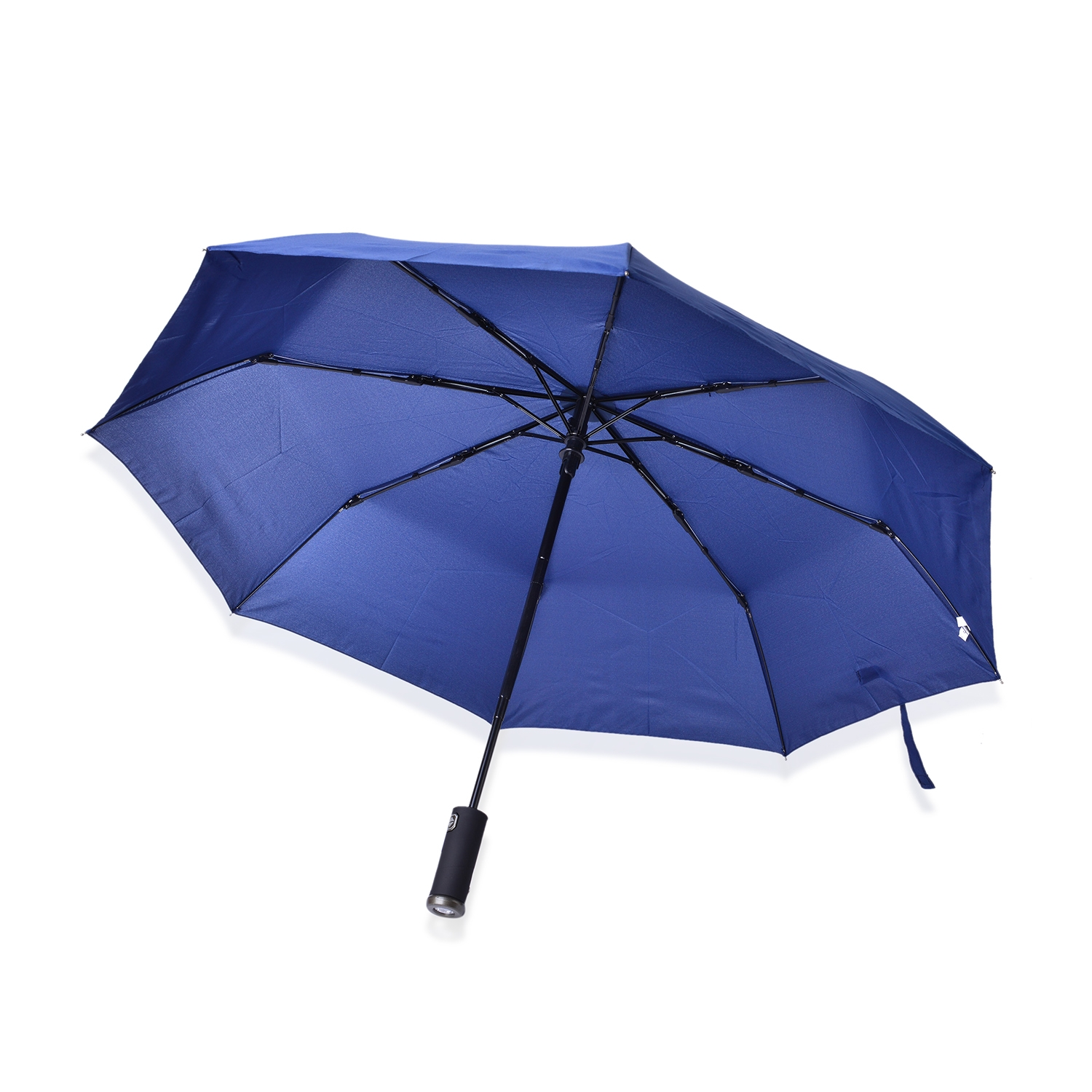 Blue Led Umbrella: Blue Three Fold Umbrella With LED Light Handle (12 In