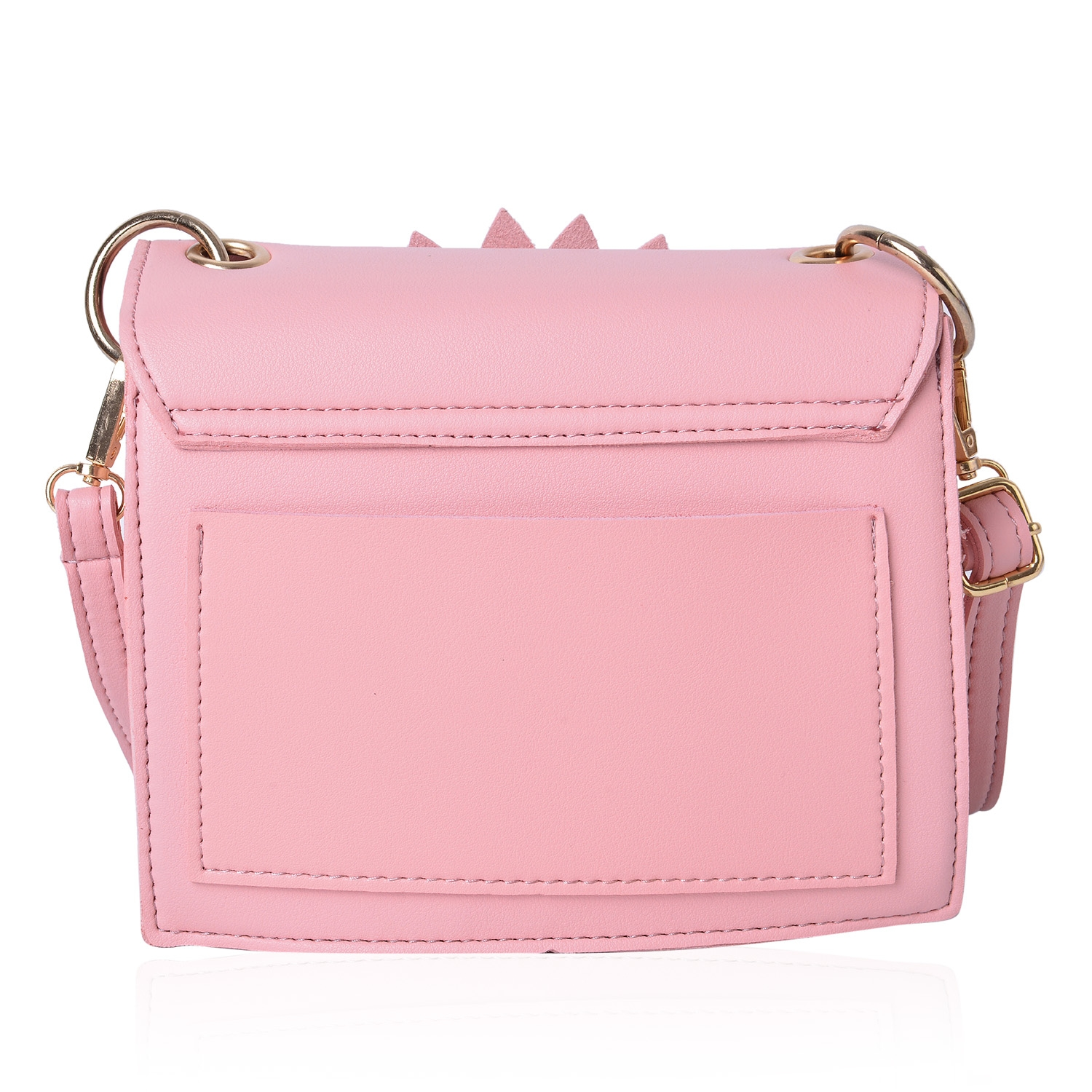 Pink 3D Flower Faux Leather Clutch Bag with Removable Crossbody Strap (7.5x2.5x6.5 in)