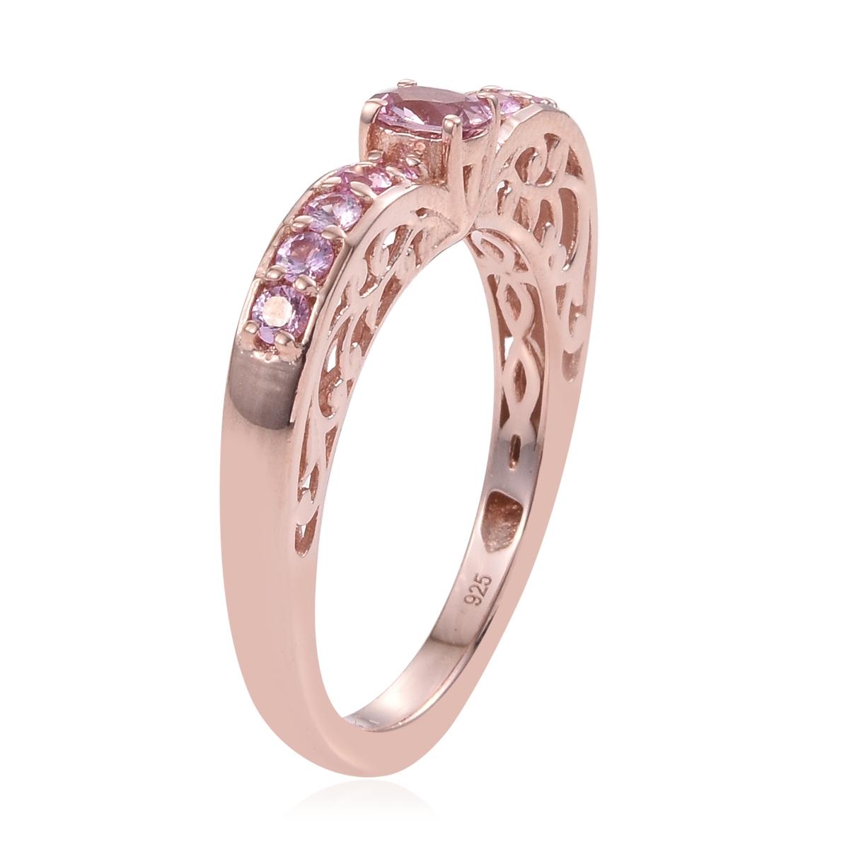 Madagascar Pink Sapphire Vermeil RG Over Sterling Silver Heart Shape ...