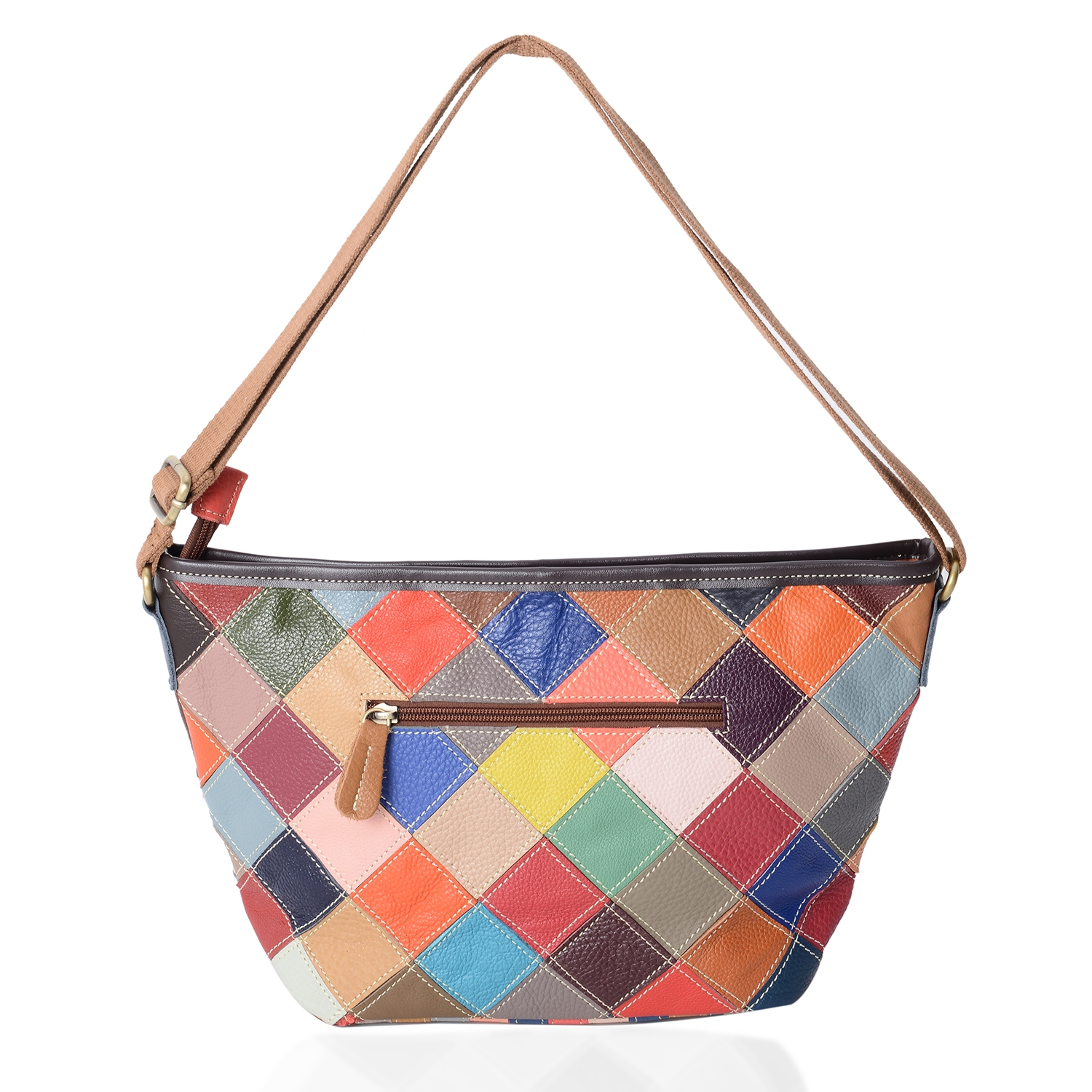 ... CHAOS BY ELSIE Multi Color Blocking Leather Crossbody Bag (14.4x9.6x4.4  ... 42d2e910a95d7