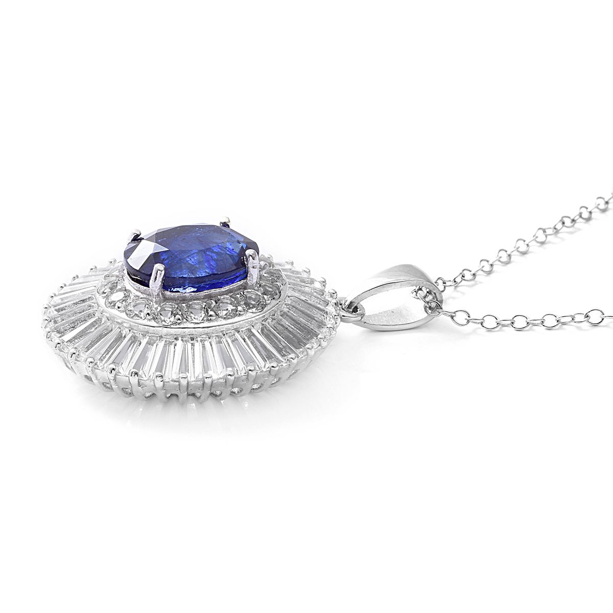 Masoala Sapphire, White Topaz Platinum Over Sterling Silver Pendant With Chain (18 in) TGW 9.97 cts.