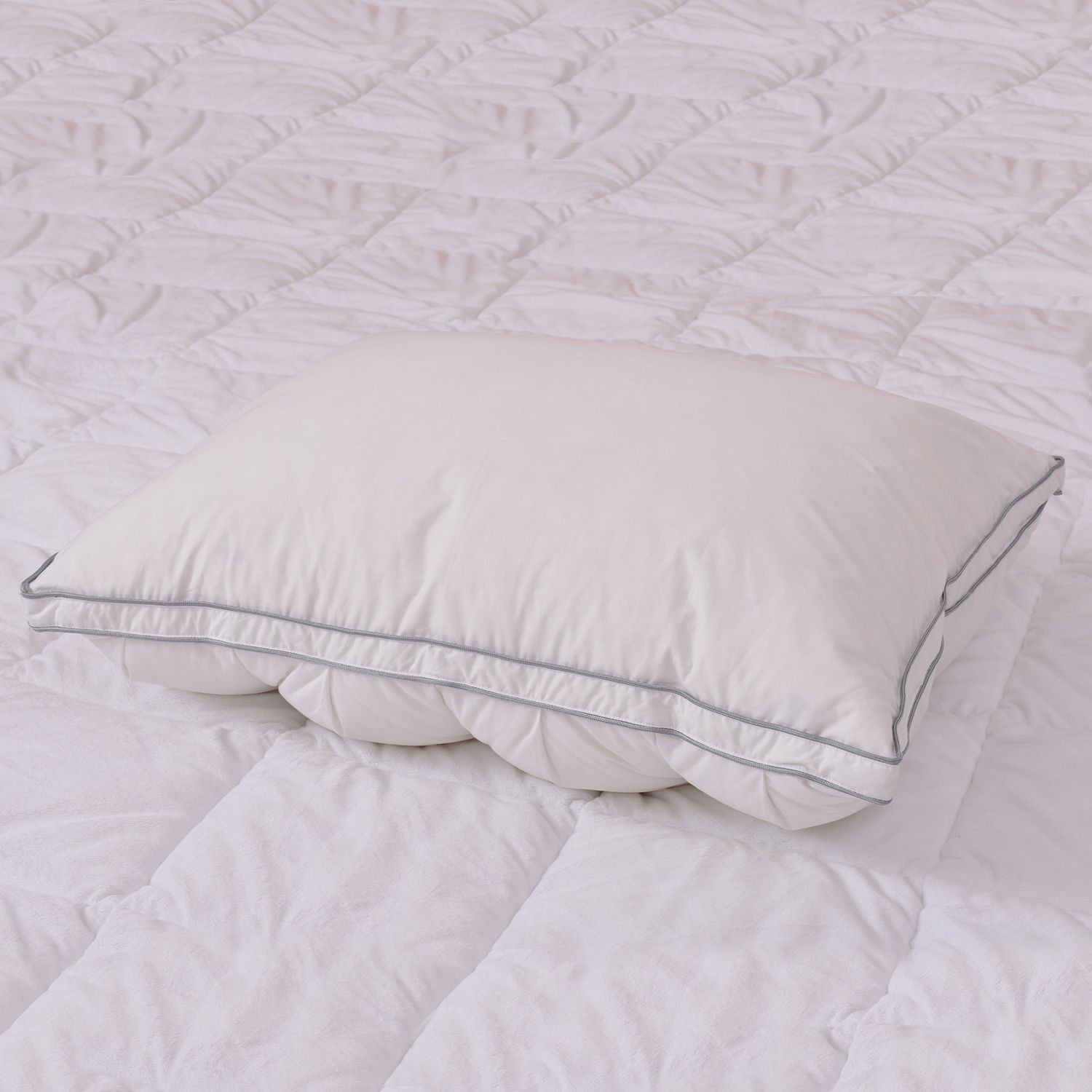 pin tuck dual core hypoallergenic pillow 20x26 in gray piping