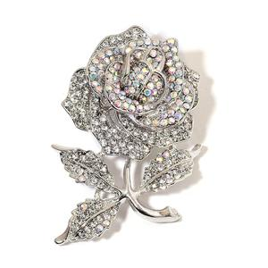 White Austrian Crystal Silvertone Rose Brooch