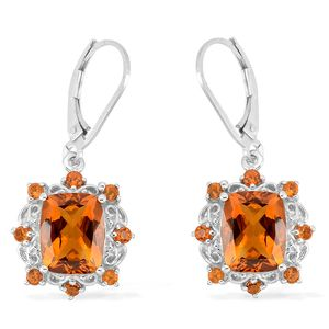 Santa Ana Madeira Citrine Platinum Over Sterling Silver Lever Back Earrings TGW 6.00 cts.
