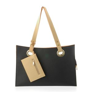 J Francis - Black and Beige Faux Leather Tote Bag with Coin Purse (15x7x2 in)