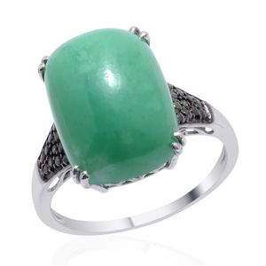 Australian Chrysoprase, Green Diamond Platinum Over Sterling Silver Ring (Size 9.0) TDiaWt 0.02 cts, TGW 11.770 cts.
