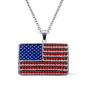 Red Austrian Crystal Stainless Steel American Flag Pendant With Chain (20 in)