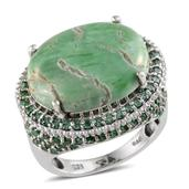 Utah Variscite, Simulated Green Diamond Platinum Over Sterling Silver Ring (Size 9.0) TGW 17.750 cts.