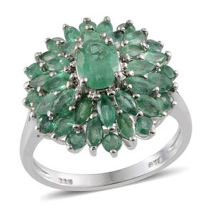 Kagem Zambian Emerald Platinum Over Sterling Silver Ring (Size 6.0) TGW 3.400 cts.