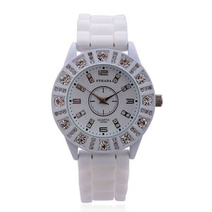 STRADA Austrian Crystal Japanese Movement Watch with Stainless Steel Back and Beige Silicone Band
