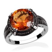 Santa Ana Madeira Citrine, Black Diamond Platinum Over Sterling Silver Ring (Size 7.0) TDiaWt 0.01 cts, TGW 5.610 cts.