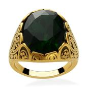 Simulated Emerald (Ovl) Ring in ION Plated YG Stainless Steel (Size 9.0)