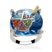 Blue Glass, Multi Color Austrian Crystal Ring in Stainless Steel (Size 10)