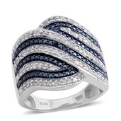 Blue Diamond, Diamond Platinum Over Sterling Silver Ring (Size 7.0) TDiaWt 0.48 cts, TGW 0.475 cts.