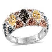 Blue, Green, White, Red and Yellow Diamond Platinum Over Sterling Silver Ring (Size 9.0) cts cts TDiaWt 0.51 cts, TGW 0.510 cts.