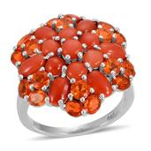 Mediterranean Coral, Jalisco Fire Opal Platinum Over Sterling Silver Ring  (Size 8.0) TGW 5.350 cts.