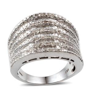 Diamond Platinum Over Sterling Silver Ring (Size 7.0) TDiaWt 0.50 cts, TGW 0.495 cts.