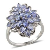 Tanzanite Platinum Over Sterling Silver Ring (Size 6.0) TGW 2.840 cts.