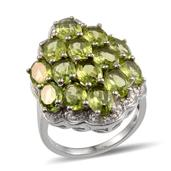 Hebei Peridot, Diamond Cluster Platinum Over Sterling Silver Ring (Size 10.0) TDiaWt 0.03 cts, TGW 12.530 cts.