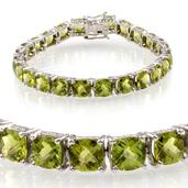 Hebei Peridot Platinum Over Sterling Silver Bracelet (7.50 In) Cts TGW 37.700 cts.