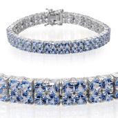 Dale's Dynamite Deal Signity Summer Blue Topaz Platinum Over Sterling Silver Bracelet (7.50 In) TGW 18.850 cts.