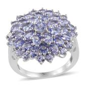 Tanzanite Platinum Over Sterling Silver Cluster Ring (Size 7.0) TGW 6.510 cts.