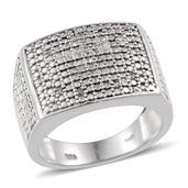 KARIS Collection - Diamond Platinum Bond Brass Accent Men's Ring (Size 13) TDiaWt 0.04 cts, TGW 0.040 cts.