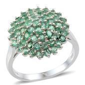 Kagem Zambian Emerald Platinum Over Sterling Silver Ring (Size 7.0) TGW 3.550 cts.