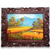 Woman Working in the Rice Fields with Photo Frame (21x17 in)