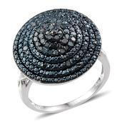 Blue Diamond (IR) Platinum Over Sterling Silver Ring (Size 8.0) , TDiaWt 0.50 cts, TGW 0.500 cts.
