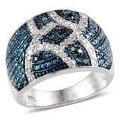 Blue Diamond (IR), Diamond Platinum Over Sterling Silver Ring (Size 6.0) TDiaWt 0.50 cts, TGW 0.500 cts.