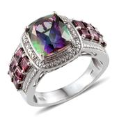 Northern Lights Mystic Topaz, Orissa Rhodolite Garnet, White Topaz Platinum Over Sterling Silver Ring (Size 10.0) TGW 9.52 cts.