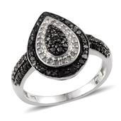 Black Diamond, Diamond Platinum Over Sterling Silver Ring (Size 6.0) TDiaWt 0.50 cts, TGW 0.498 cts.