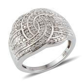 Diamond Platinum Over Sterling Silver Ring (Size 7.0) TDiaWt 0.48 cts, TGW 0.480 cts.