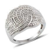 Diamond Platinum Over Sterling Silver Ring (Size 8) TDiaWt 0.48 cts, TGW 0.480 cts.