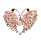 Creature Couture - Black and White Glass, Austrian Crystal Rosetone Rosetone Butterfly Brooch