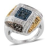Blue, Green, White and Yellow Diamond Platinum Over Sterling Silver Ring (Size 9.0) TDiaWt 0.50 cts, TGW 0.500 cts.