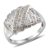 Diamond Platinum Over Sterling Silver Ring (Size 9.0) TDiaWt 0.50 cts, TGW 0.500 cts.