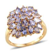 Tanzanite 14K YG Over Sterling Silver Ring (Size 7.0) TGW 5.400 cts.