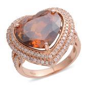 14K RG Sphalerite, Diamond Ring (Size 7.0) TDiaWt 0.79 cts, TGW 11.09 cts.