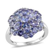 Tanzanite Platinum Over Sterling Silver Ring (Size 7.0) TGW 5.05 cts.