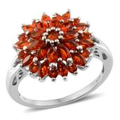 Jalisco Fire Opal Platinum Over Sterling Silver Ring (Size 8.0) TGW 1.470 cts.